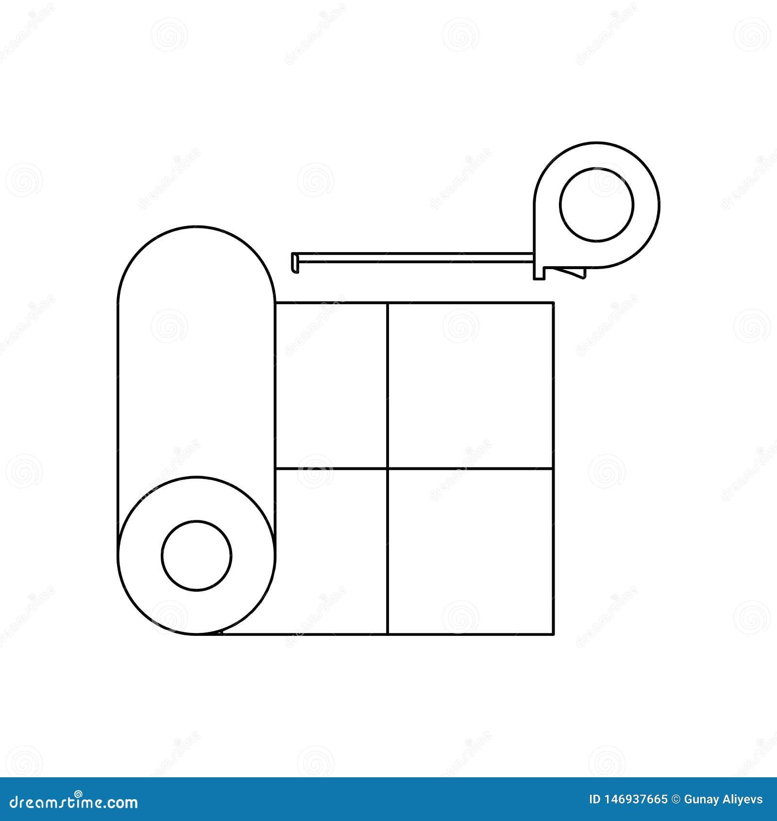 Farblinoleum und Ma?band Ikone Element von Bauwerkzeugen f?r bewegliches Konzept und Netz Appsikone Entwurf, d?nne Linie Ikone