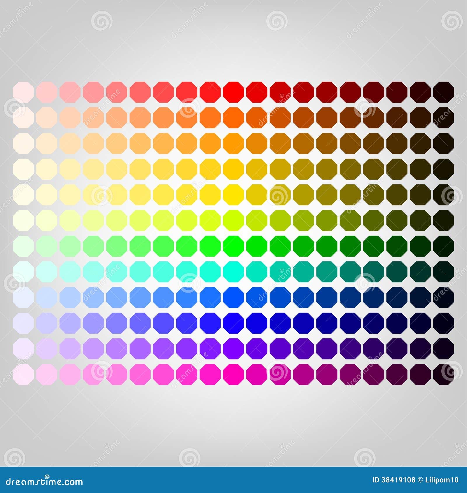Farbpalette Mit Schatten Von Farben Vektor Abbildung Illustration