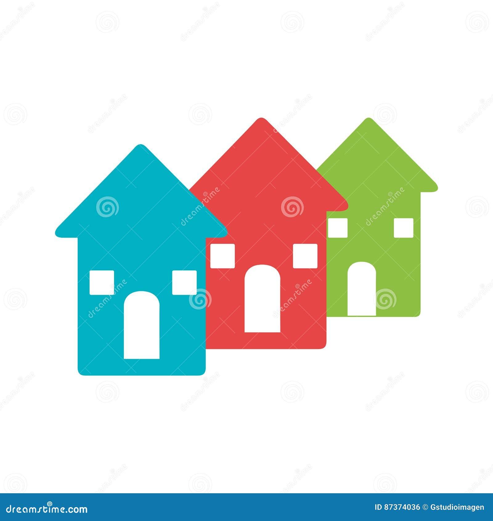 Farbpiktogramm Mit Satz Häusern Vektor Abbildung - Illustration von ...