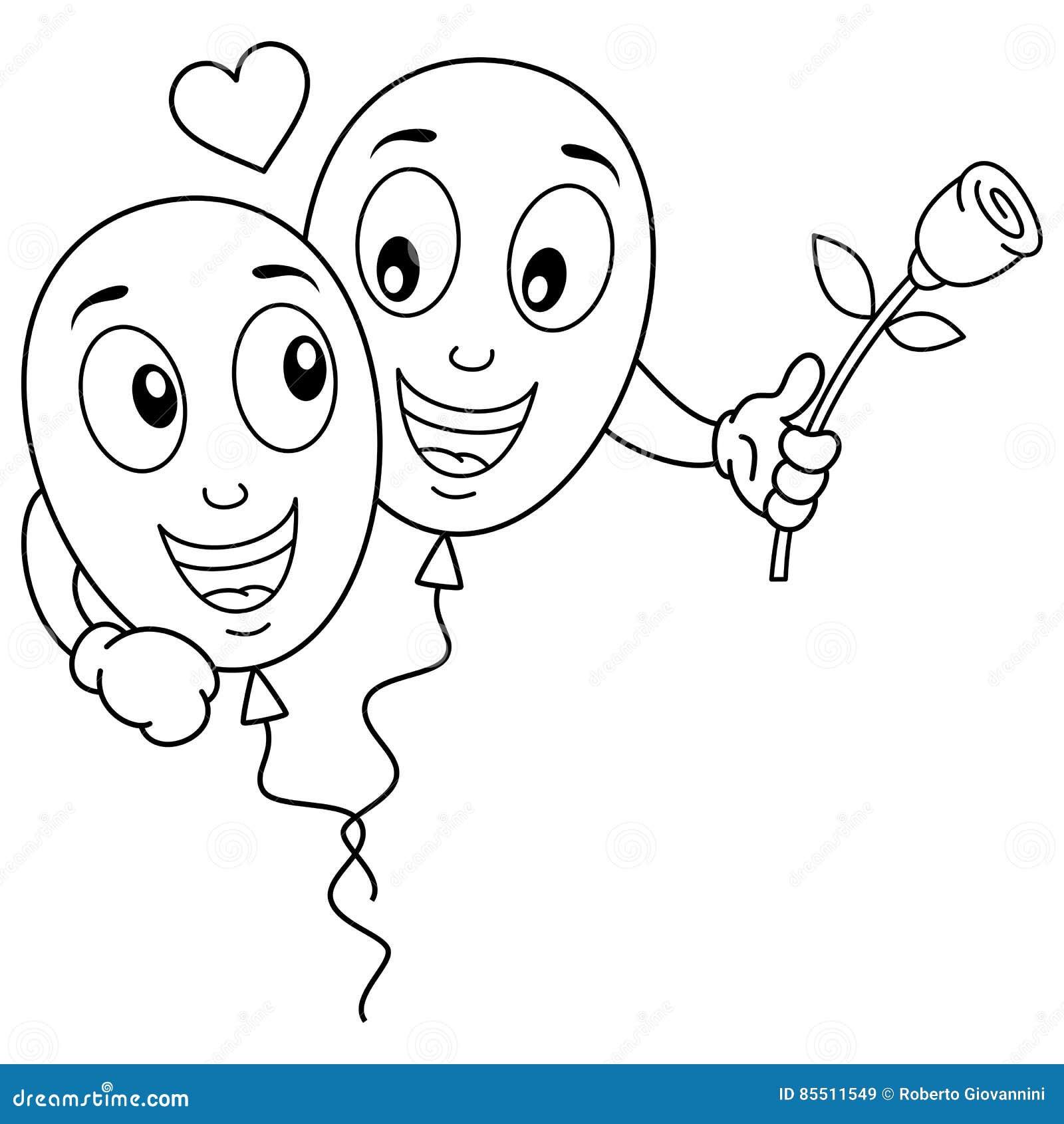 Farbton-Karikatur steigt Liebhaber in der Liebe im Ballon auf