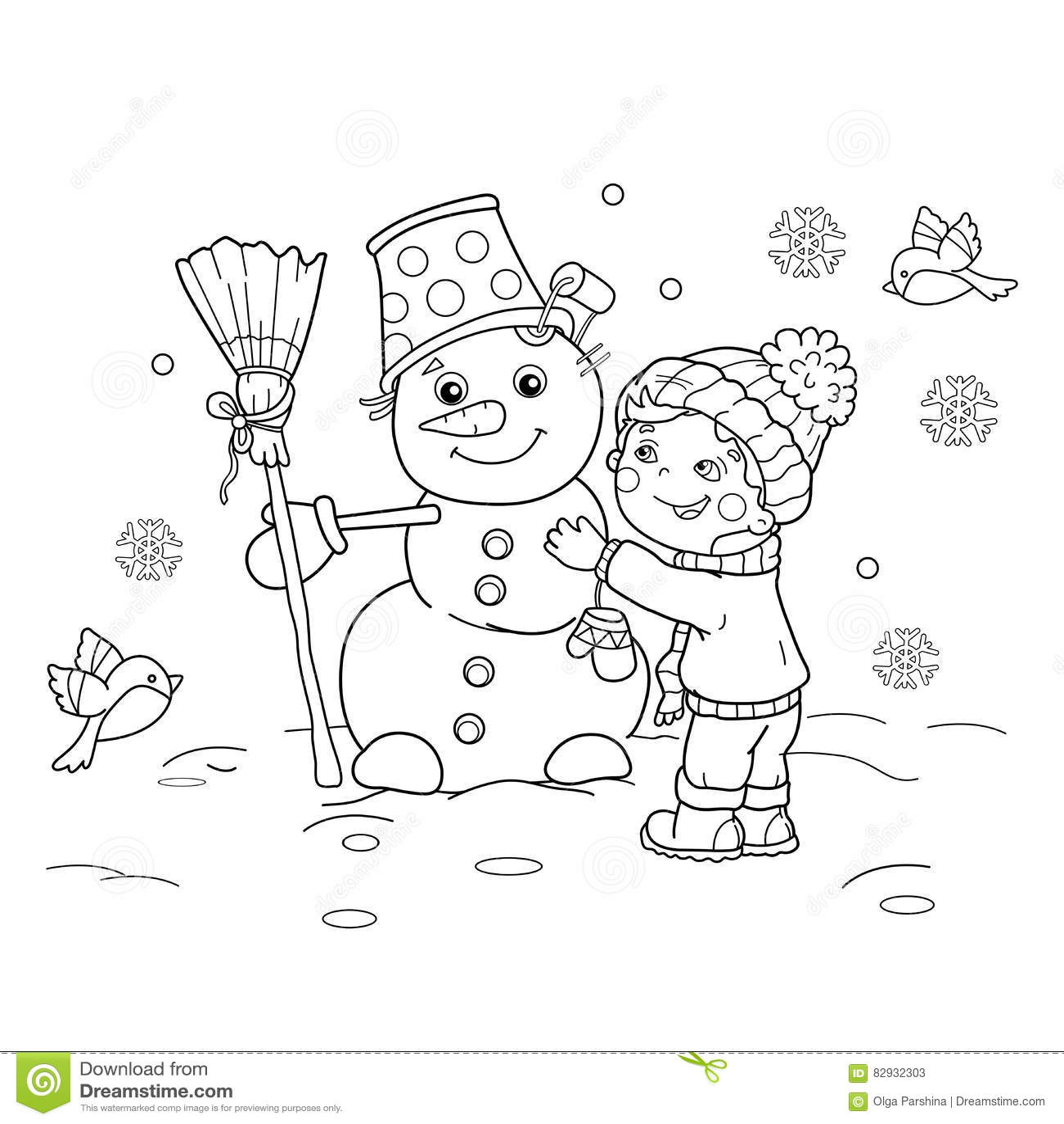 Farbton-Seiten-Entwurf des Karikaturjungen mit Schneemann Winter
