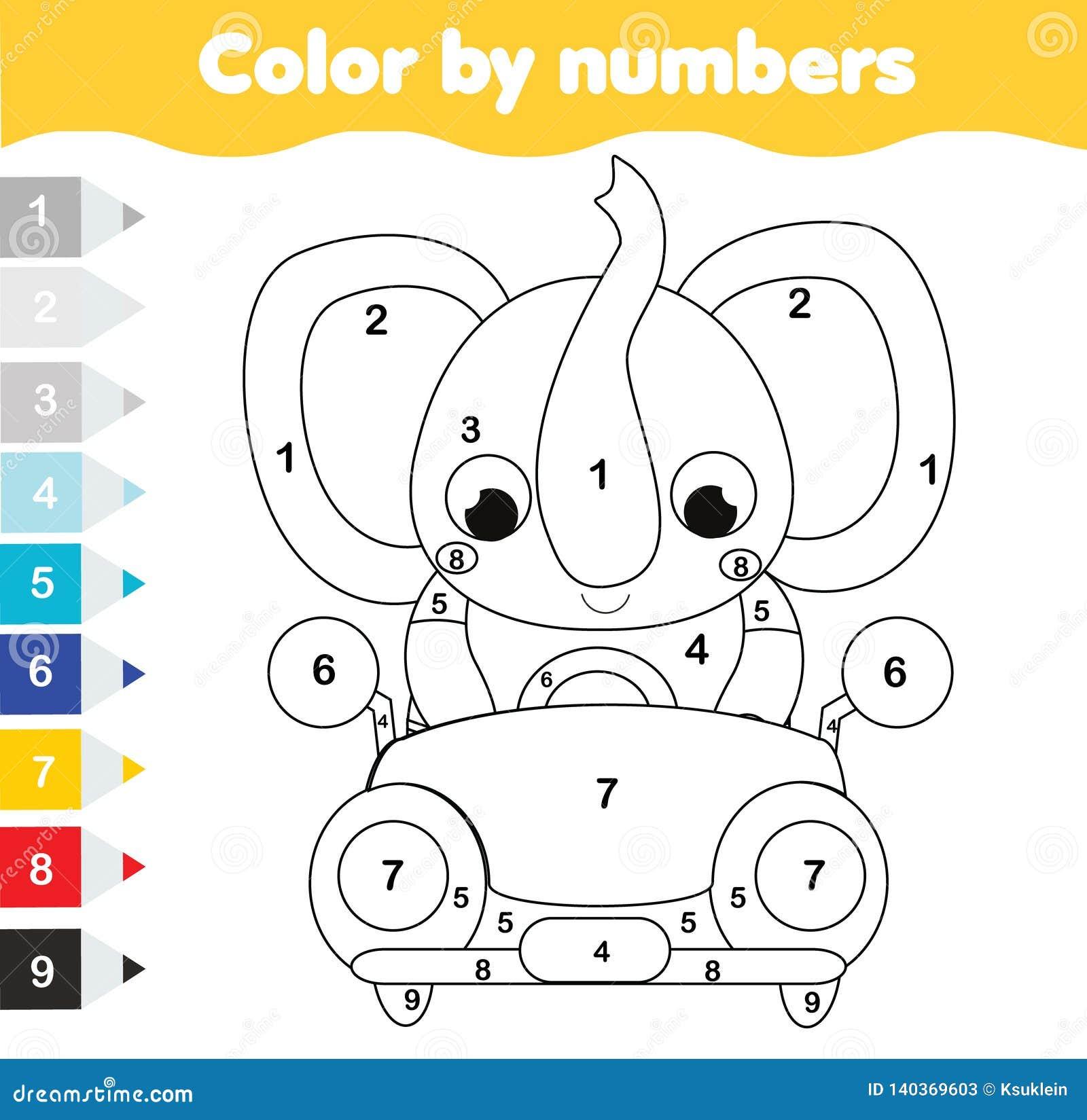 Farbtonseite für Kinder Pädagogisches Kinderspiel Farbe durch Zahlen Karikaturelefant-Antriebsauto