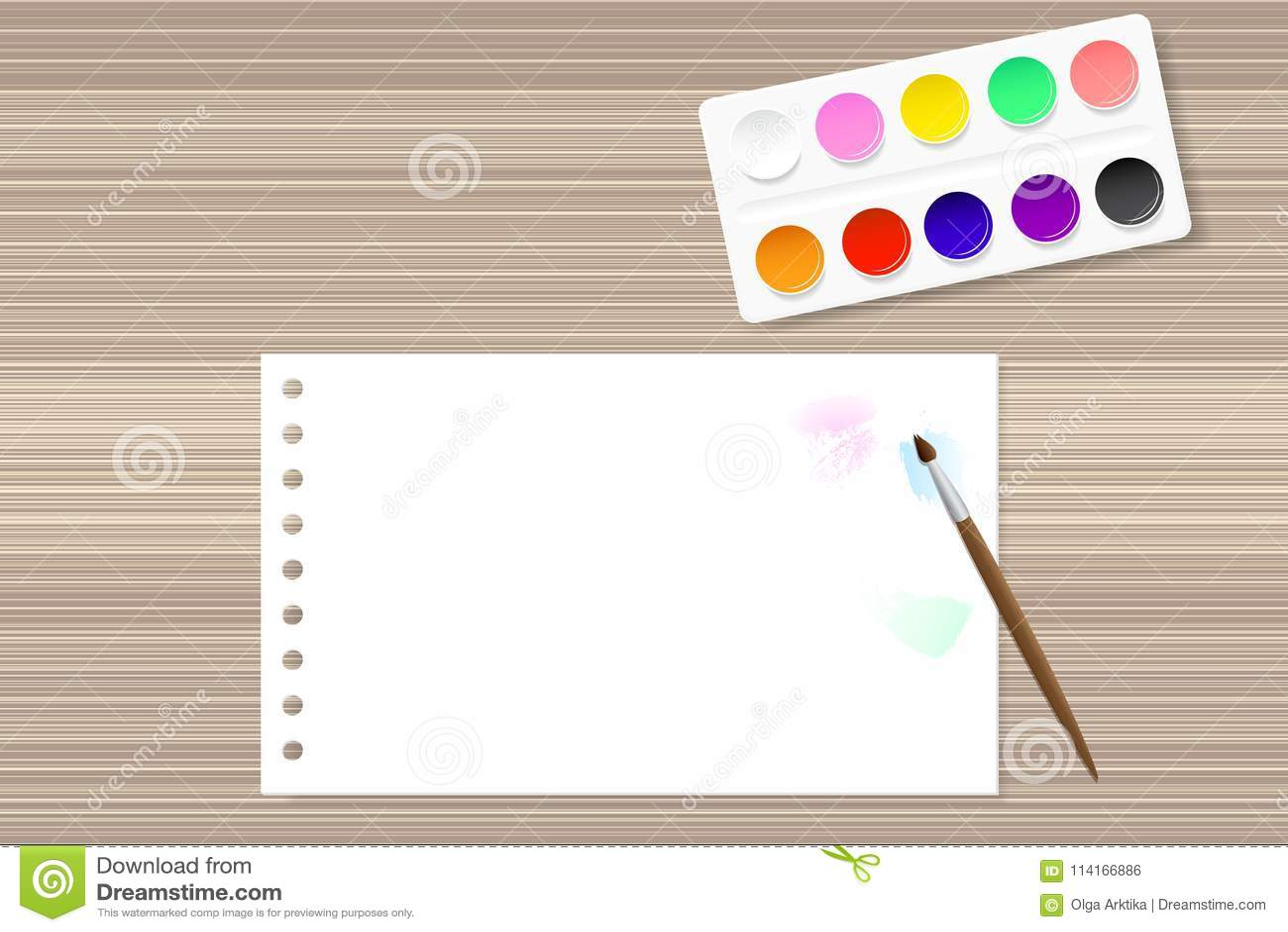 Farby i papier na drewnianym stole