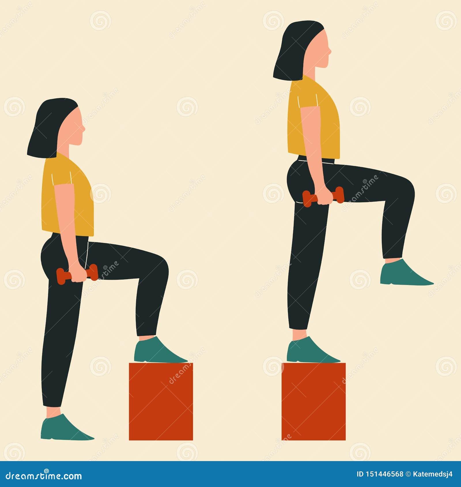 Fare della donna aumenta Illustrazioni degli esercizi e degli allenamenti del glute Illustrazione piana di vettore