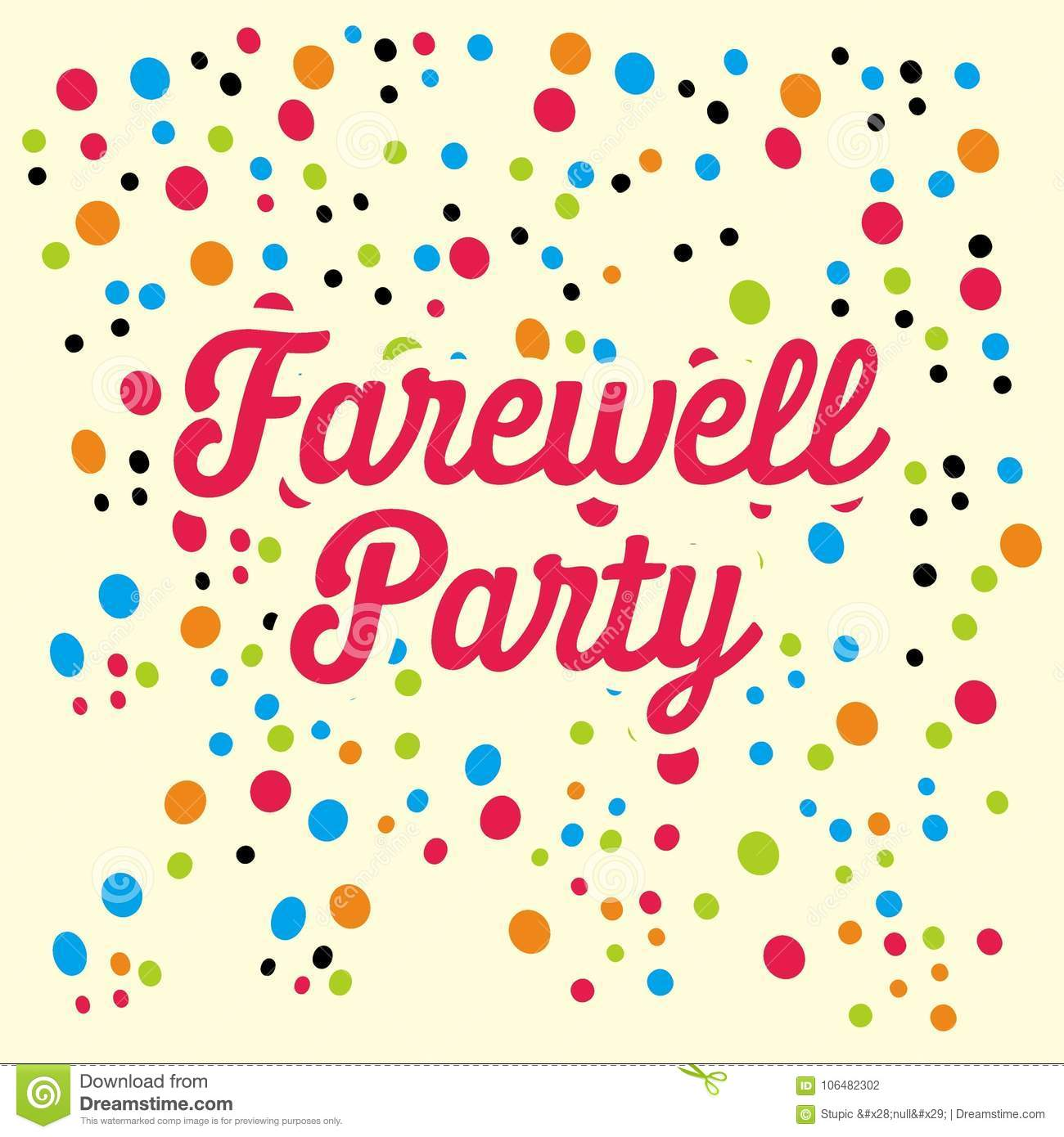 Farewell Party Illustration Vector Art Logo Template And