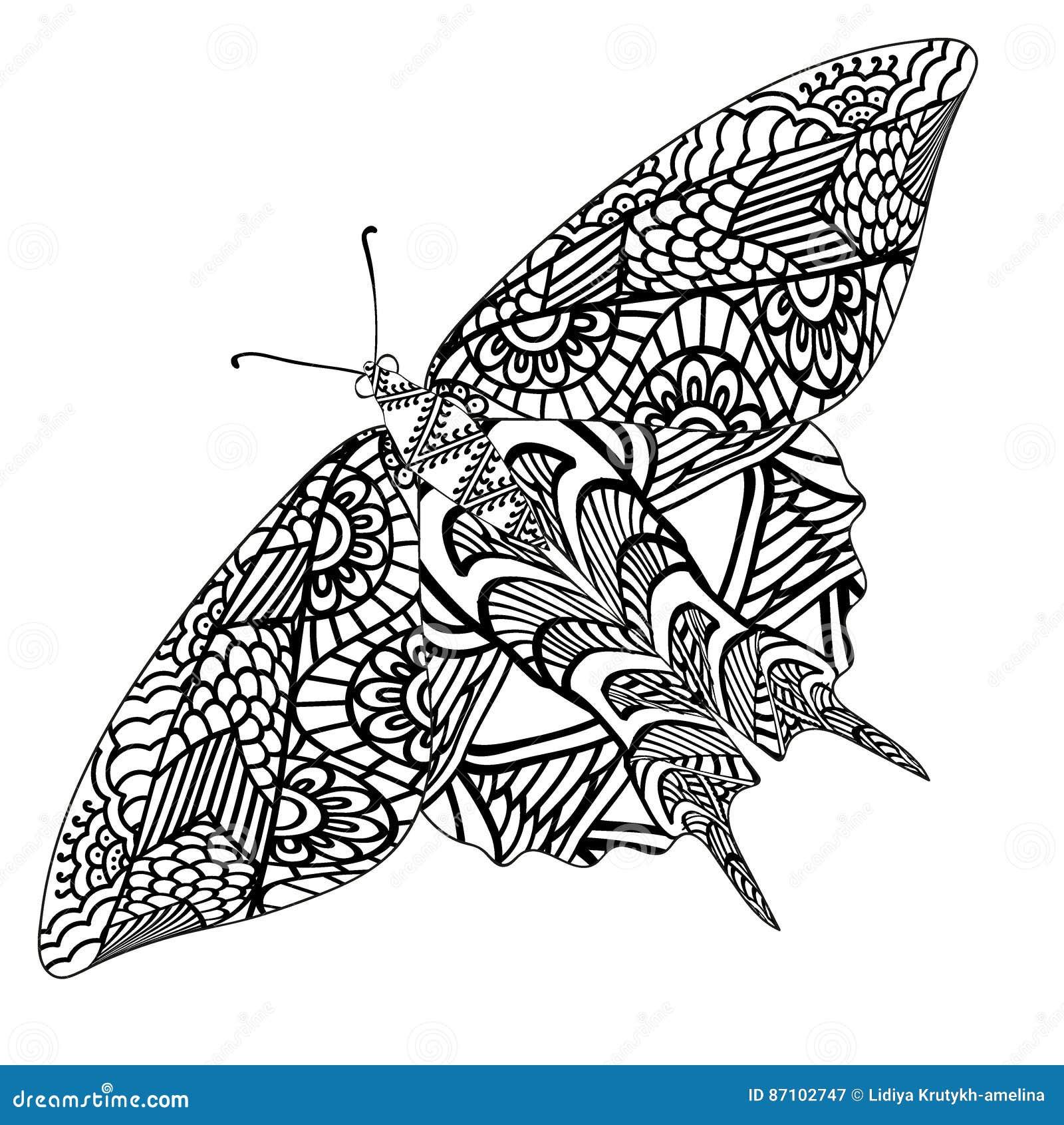 Farfalla Con Il Modello Etnico Di Scarabocchio Zentangle Ha