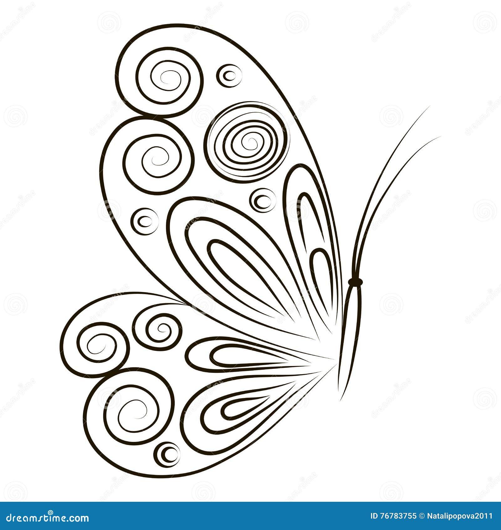 Farfalla Disegnata A Mano Dellillustrazione Di Vettore Su Fondo