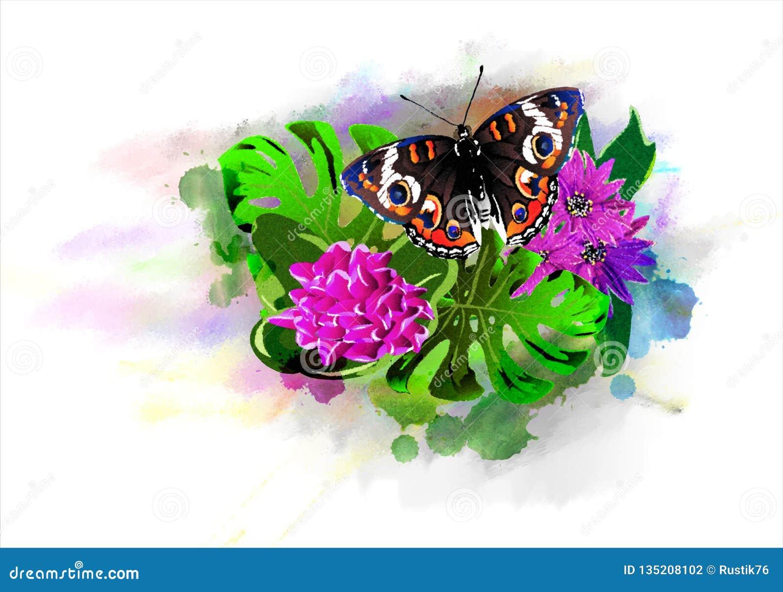 Farfalla luminosa con i fiori tropicali sulle gocce variopinte della pittura