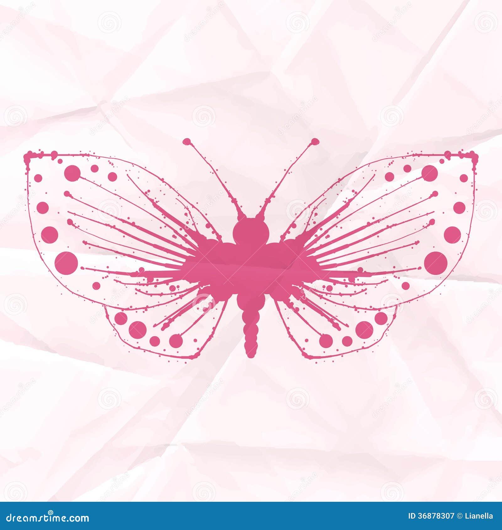 Download Farfalla-macchia Su Carta Sgualcita Illustrazione di Stock - Illustrazione di splatter, grunge: 36878307