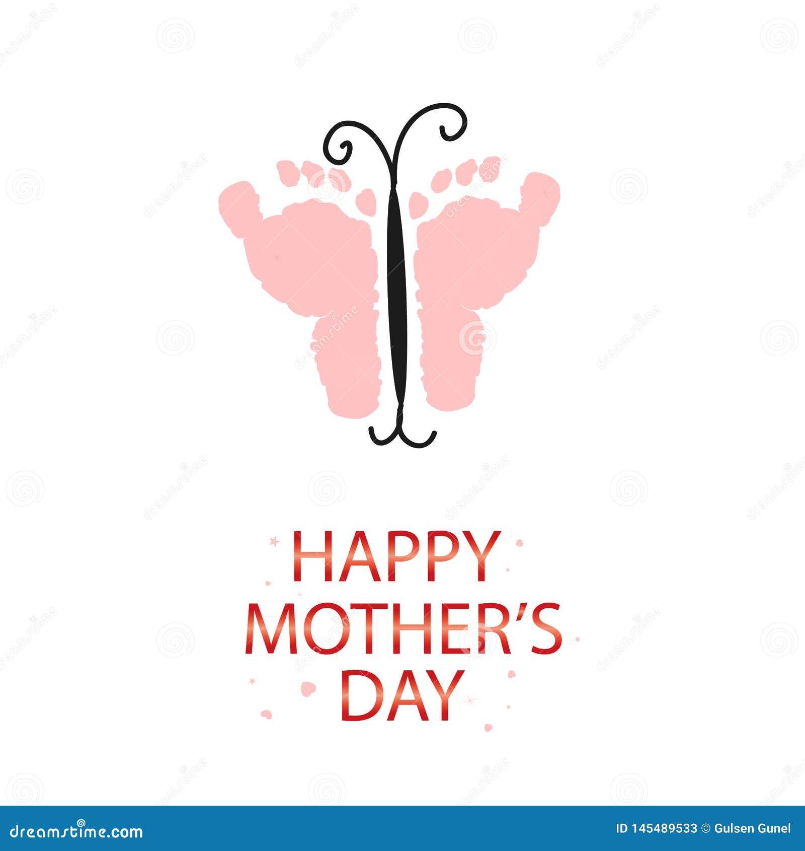 Farfalla rosa con le stampe del piede del bambino Cartolina d auguri felice di giorno di madri Venuta presto bambino Il genere de