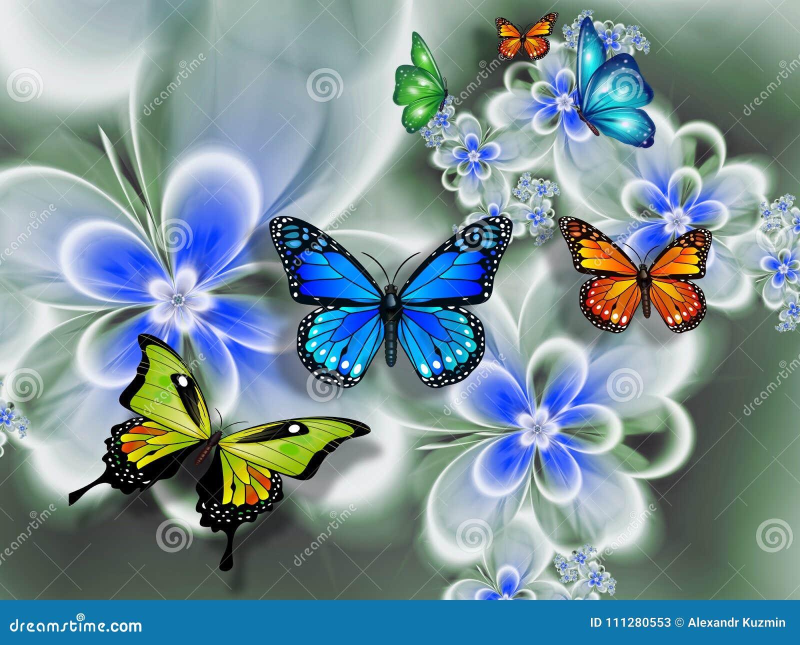 Farfalla sui fiori, astrazione Carta da parati per il wallsn rappresentazione 3d