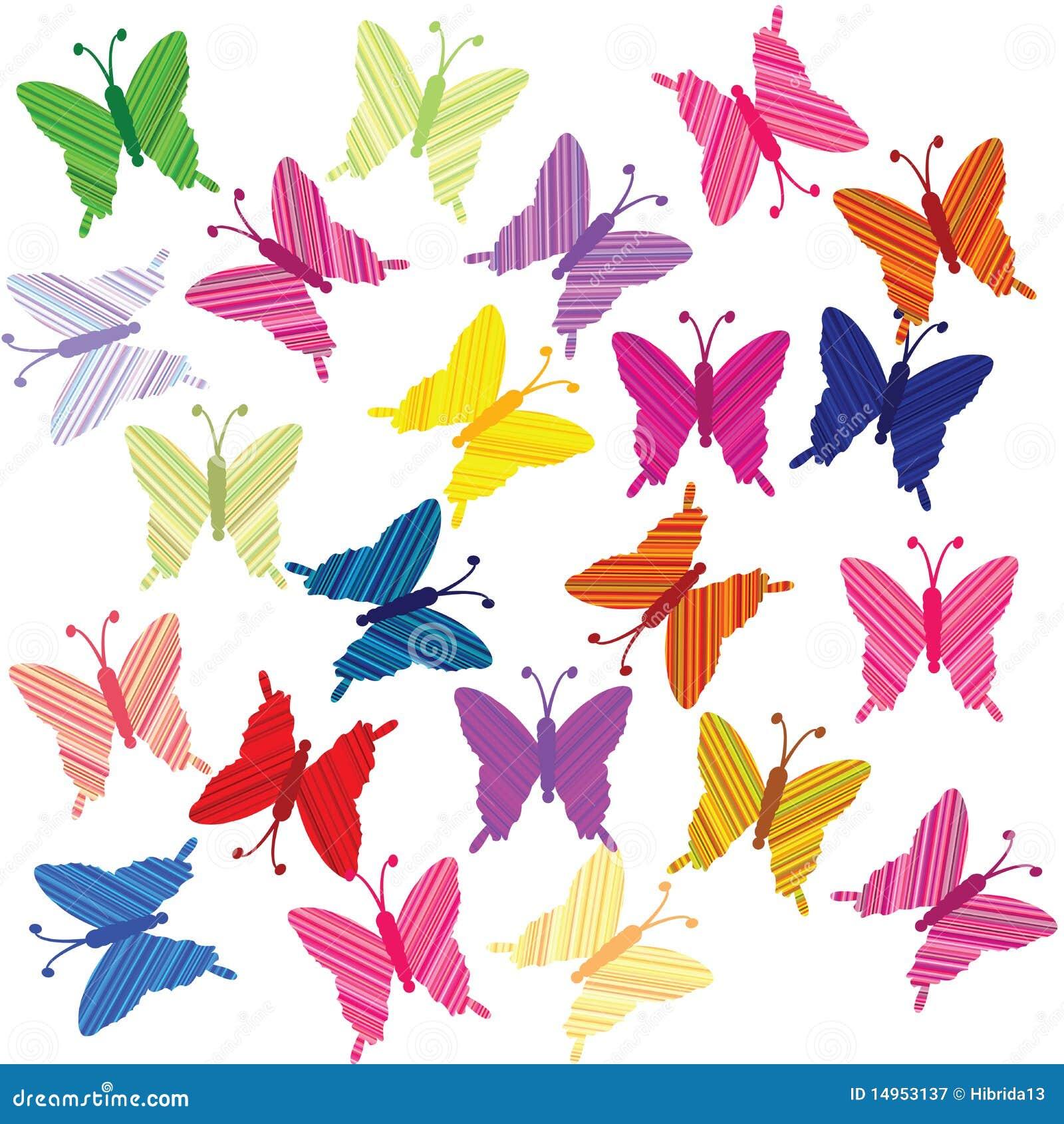 Farfalle colorate a strisce illustrazione di stock for Foto farfalle colorate