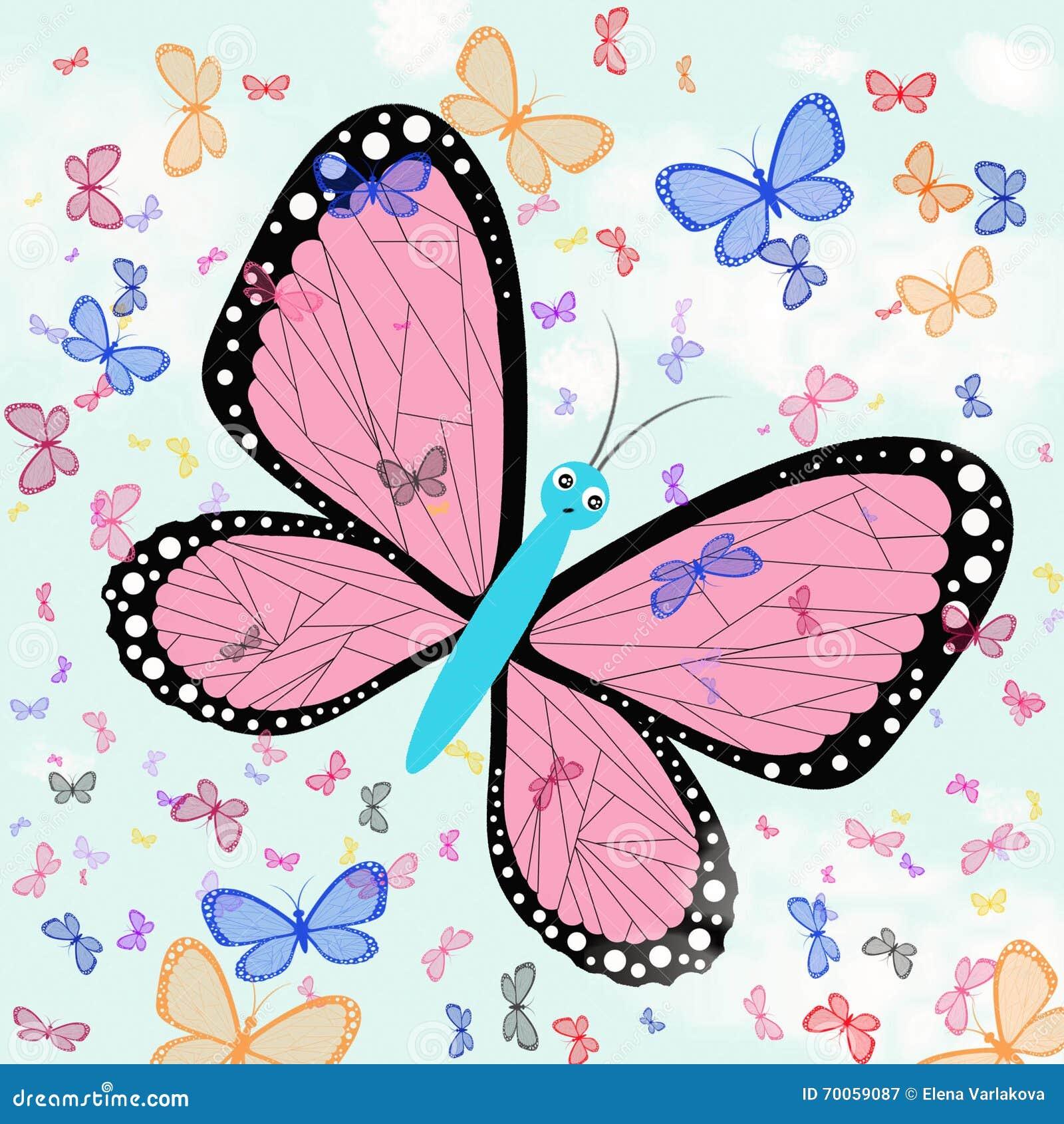 Farfalle Contro Un Cielo Blu Imitazione Dei Disegni Dei Bambini