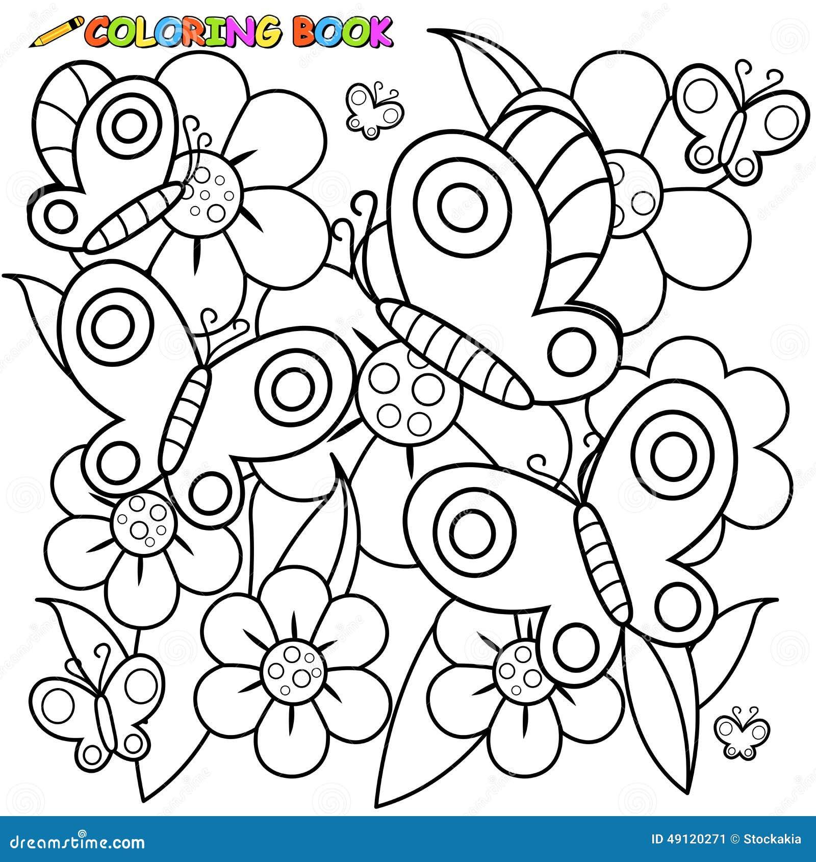 Farfalle E Fiori Della Pagina Del Libro Da Colorare Illustrazione