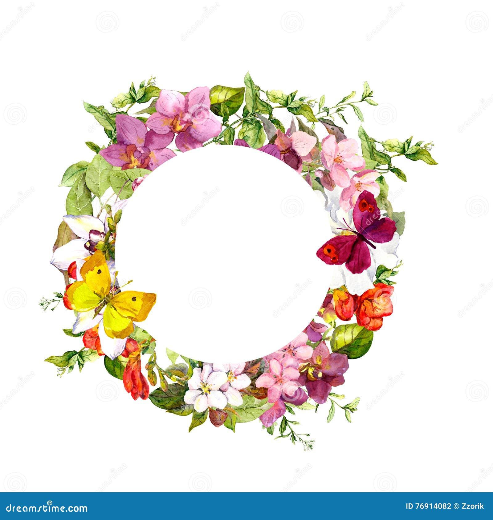 Farfalle, fiori Corona floreale del cerchio watercolor