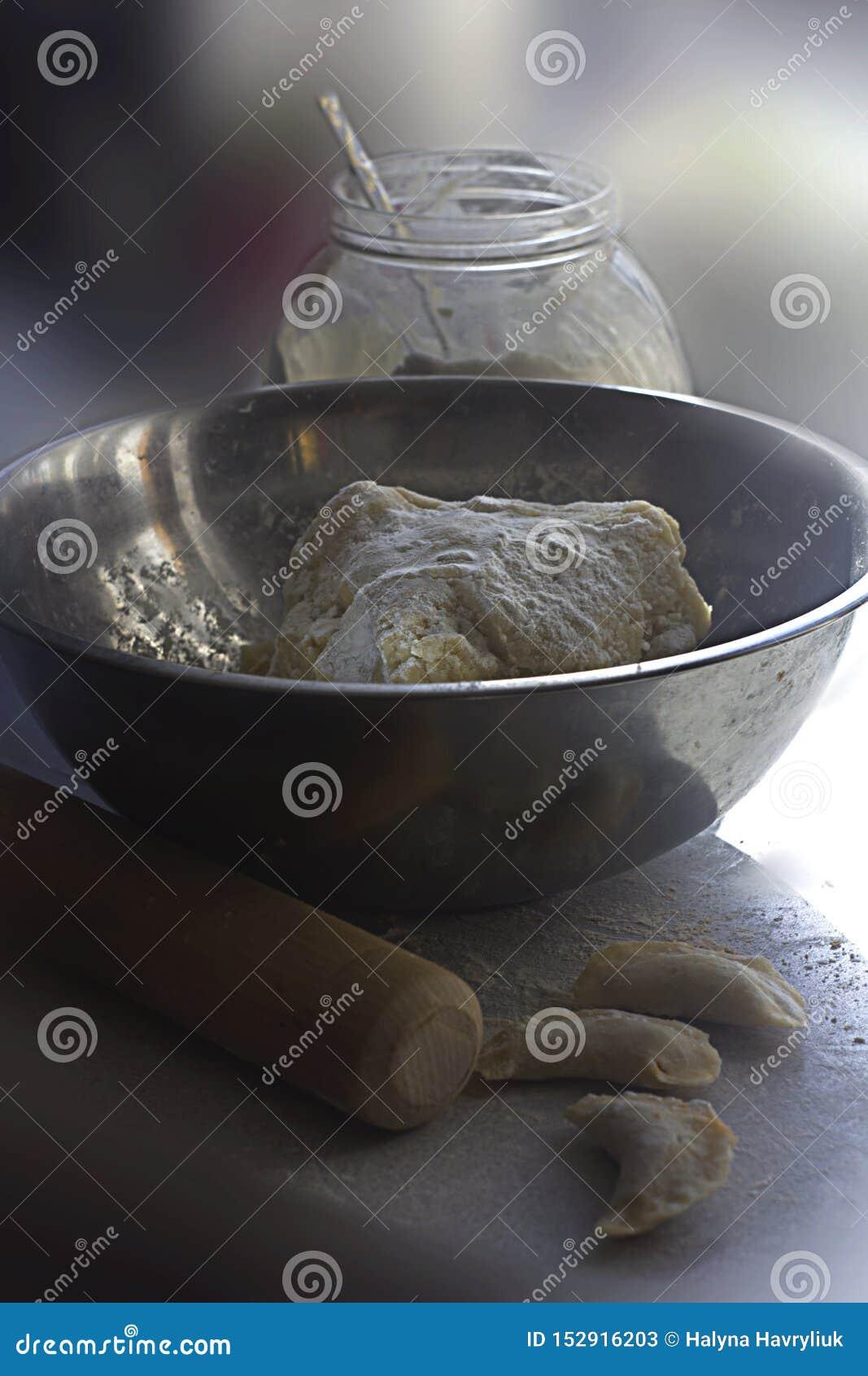 Farine, blanc, pâte, fond, cuisson, faite maison, verre, nourriture, saine, cuvette, cuillère, pot, organique, savoureux, ingrédi