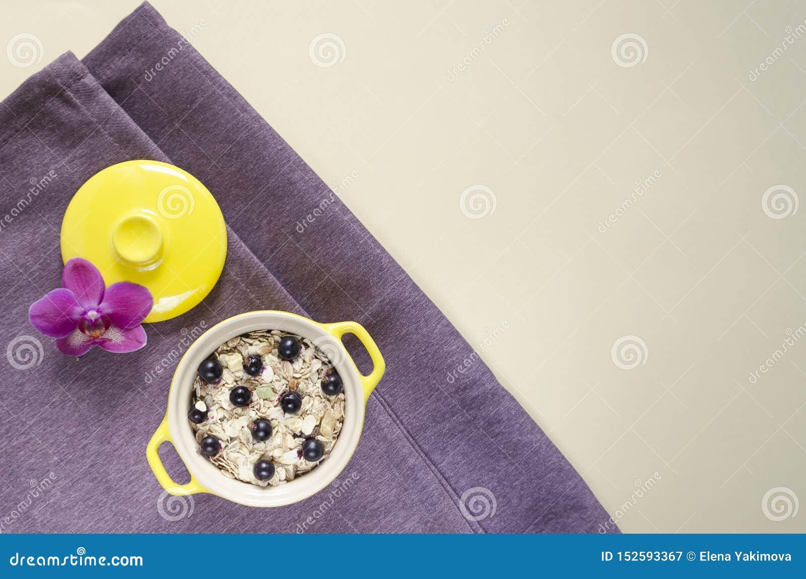 Farinha de aveia saudável colocada plano do café da manhã em um potenciômetro, muesli com mirtilos frescos e corintos
