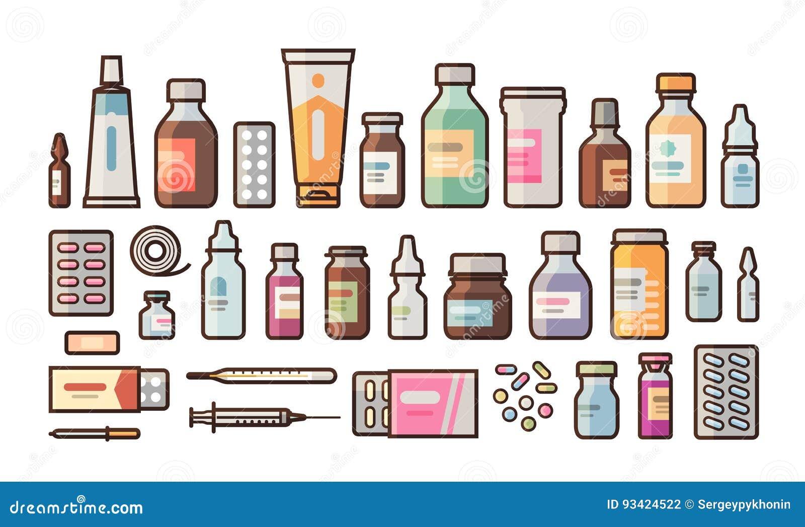 A farmácia, medicamentação, garrafas, comprimidos, cápsulas ajustou ícones Drograria, medicina, conceito do hospital Ilustração d