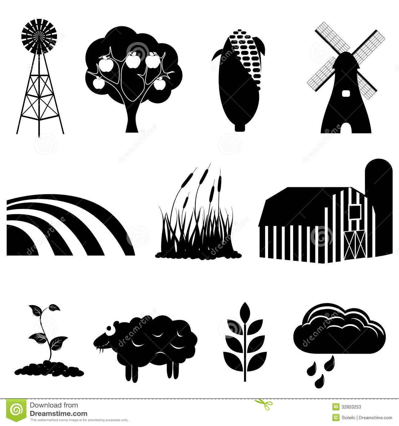 Farm And Agriculture Icons Stock Vector  Image Of Apple