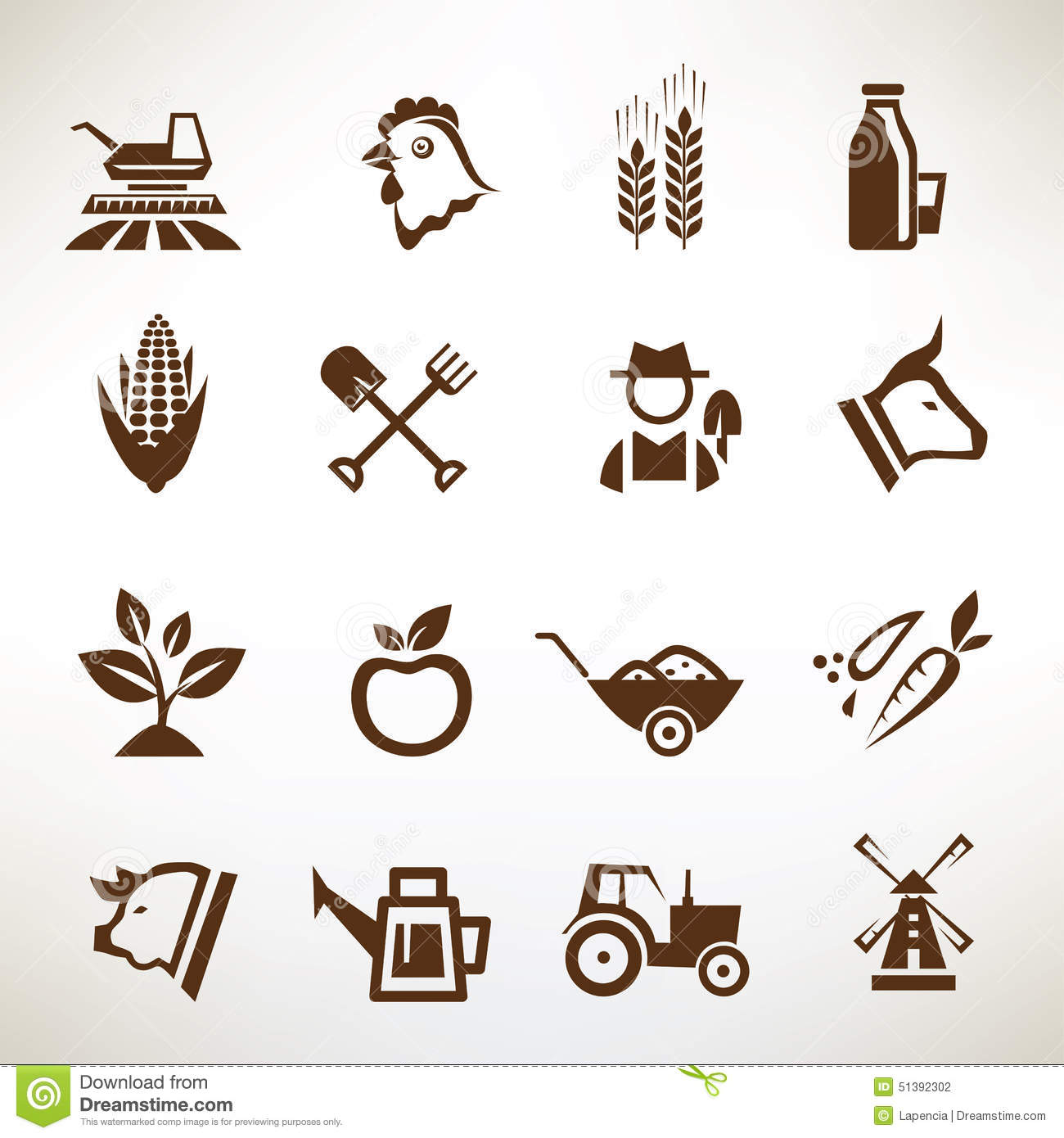 Farm And Agriculture Vector Icons Stock Vector - Image: 51392302