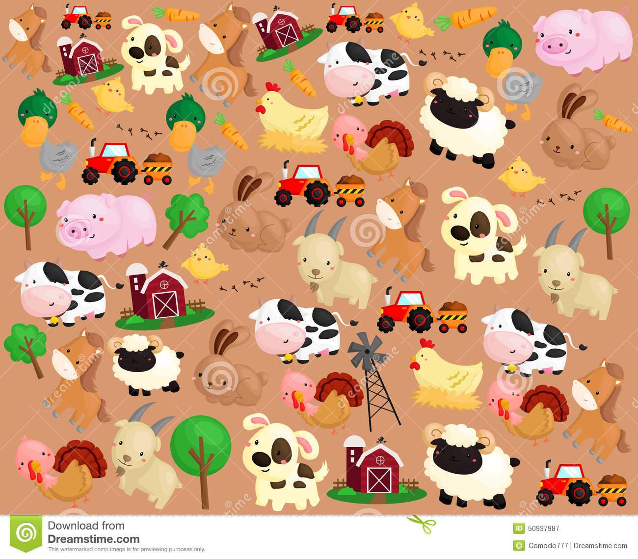 Farm Animal Background Stock Vector - Image: 50937987