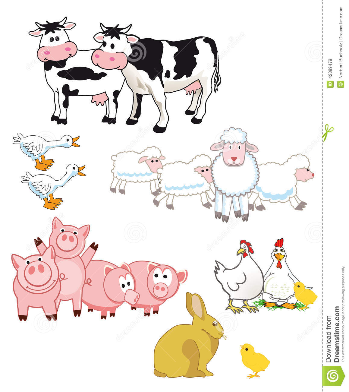 ... illustrations of cows, sheep, ducks, pigs, chickens and a rabbit