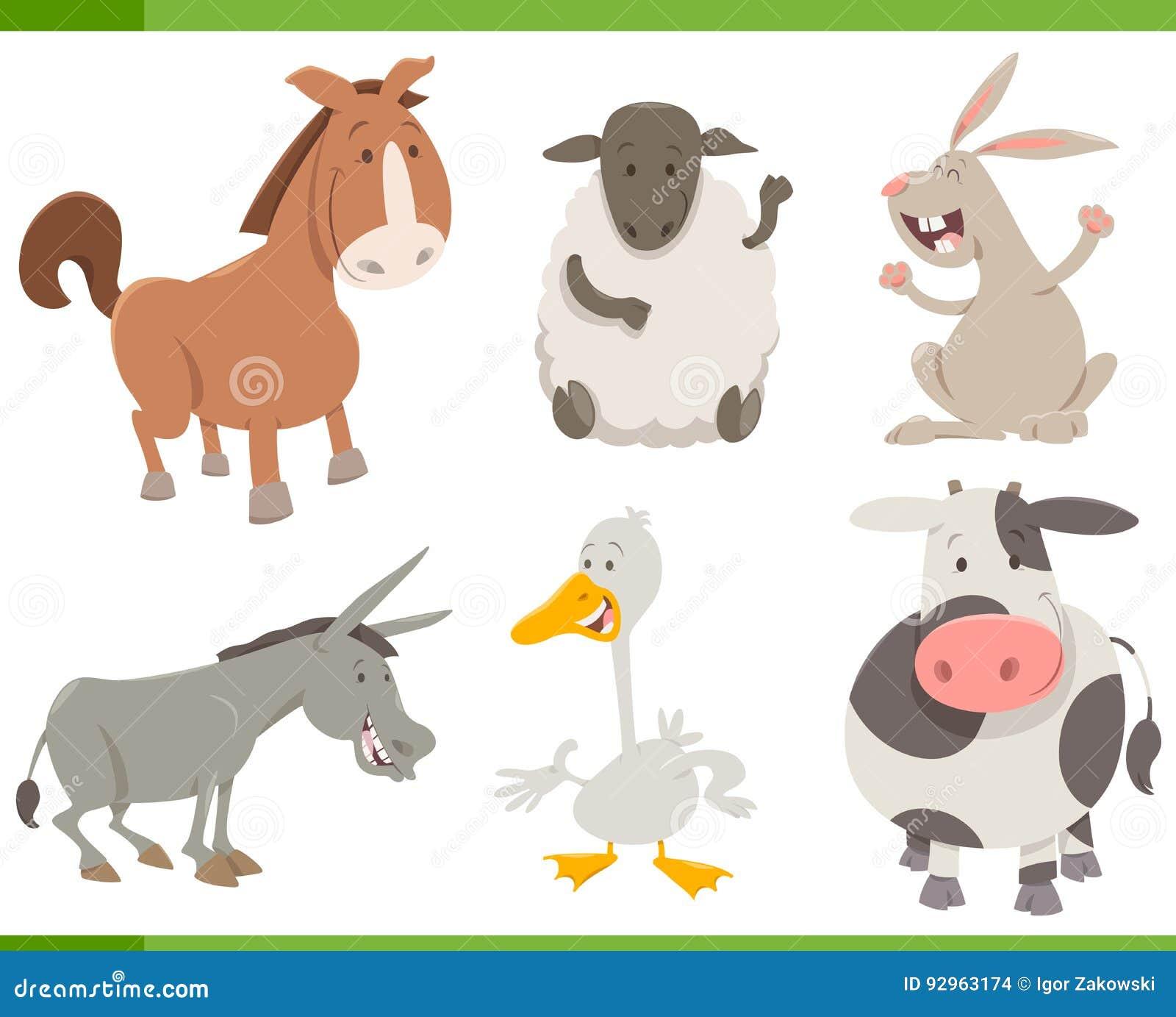 happy farm animal cartoon collection vector illustration. Black Bedroom Furniture Sets. Home Design Ideas