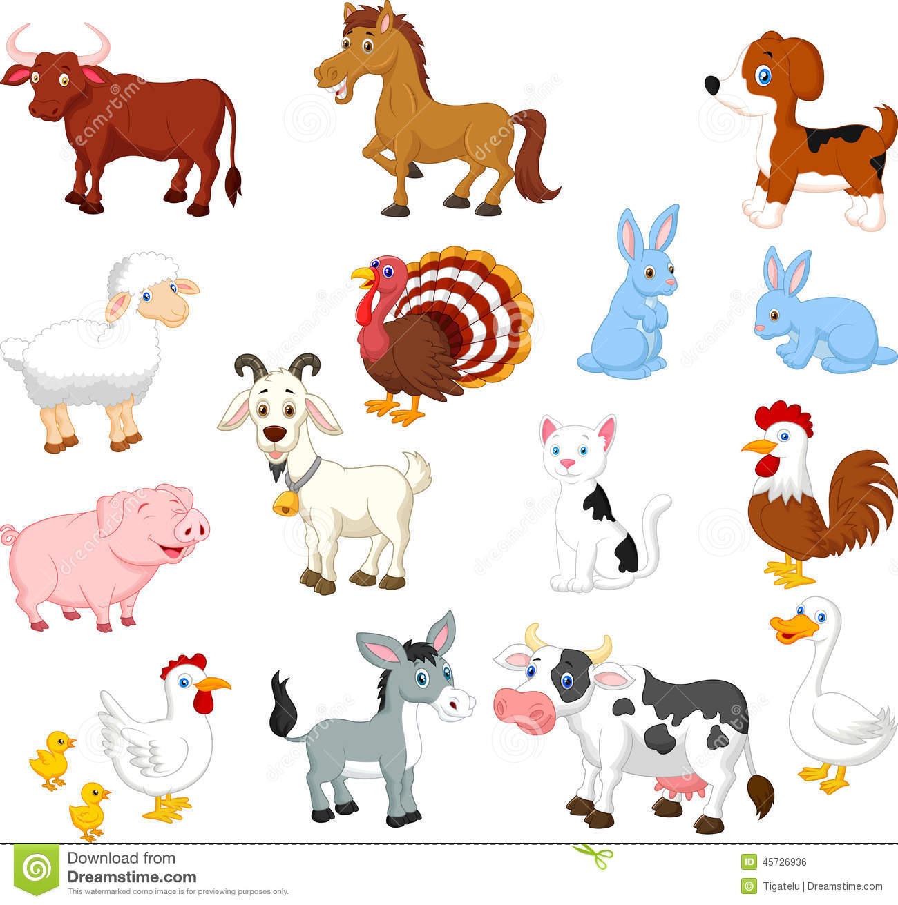 Farm Animal Collection Set Stock Vector Illustration Of Bunny