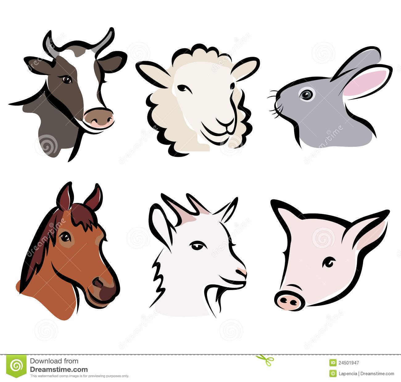 Farm Animal Set Of Symbols Royalty Free Stock Photography - Image ...