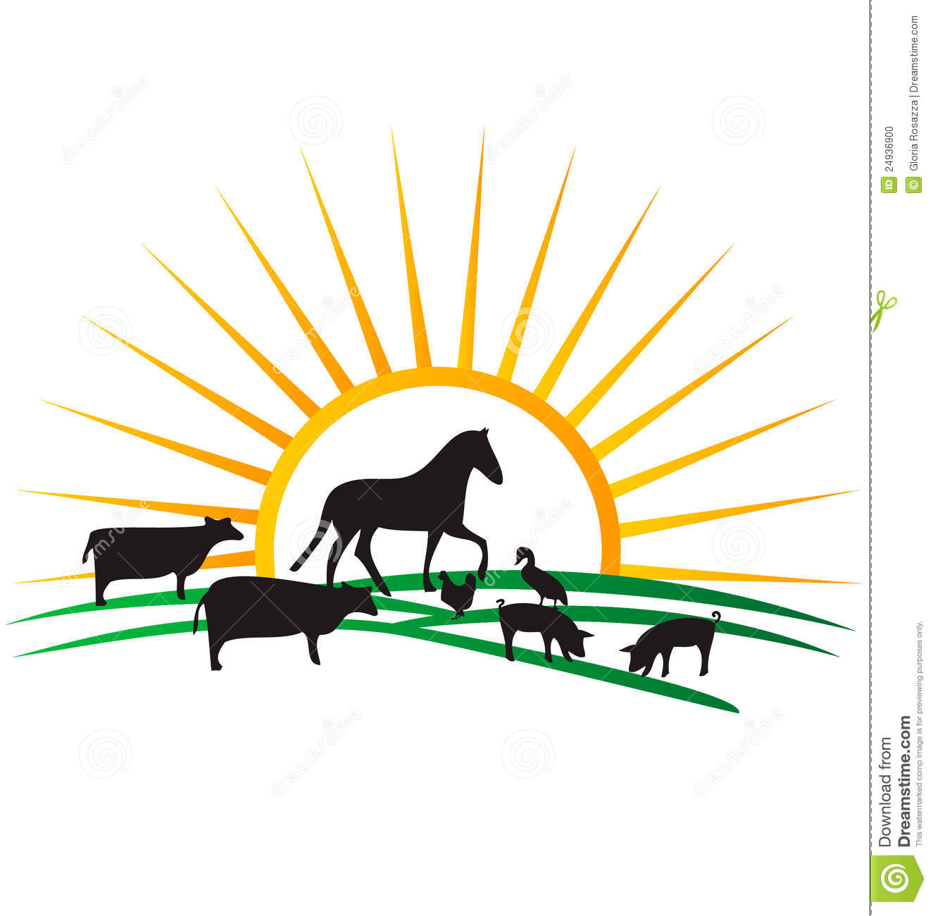 farm animal silhouettes logo stock vector illustration of donkey rh dreamstime com Cartoon Pictures of Farms and Crops Troctors Free River Vector