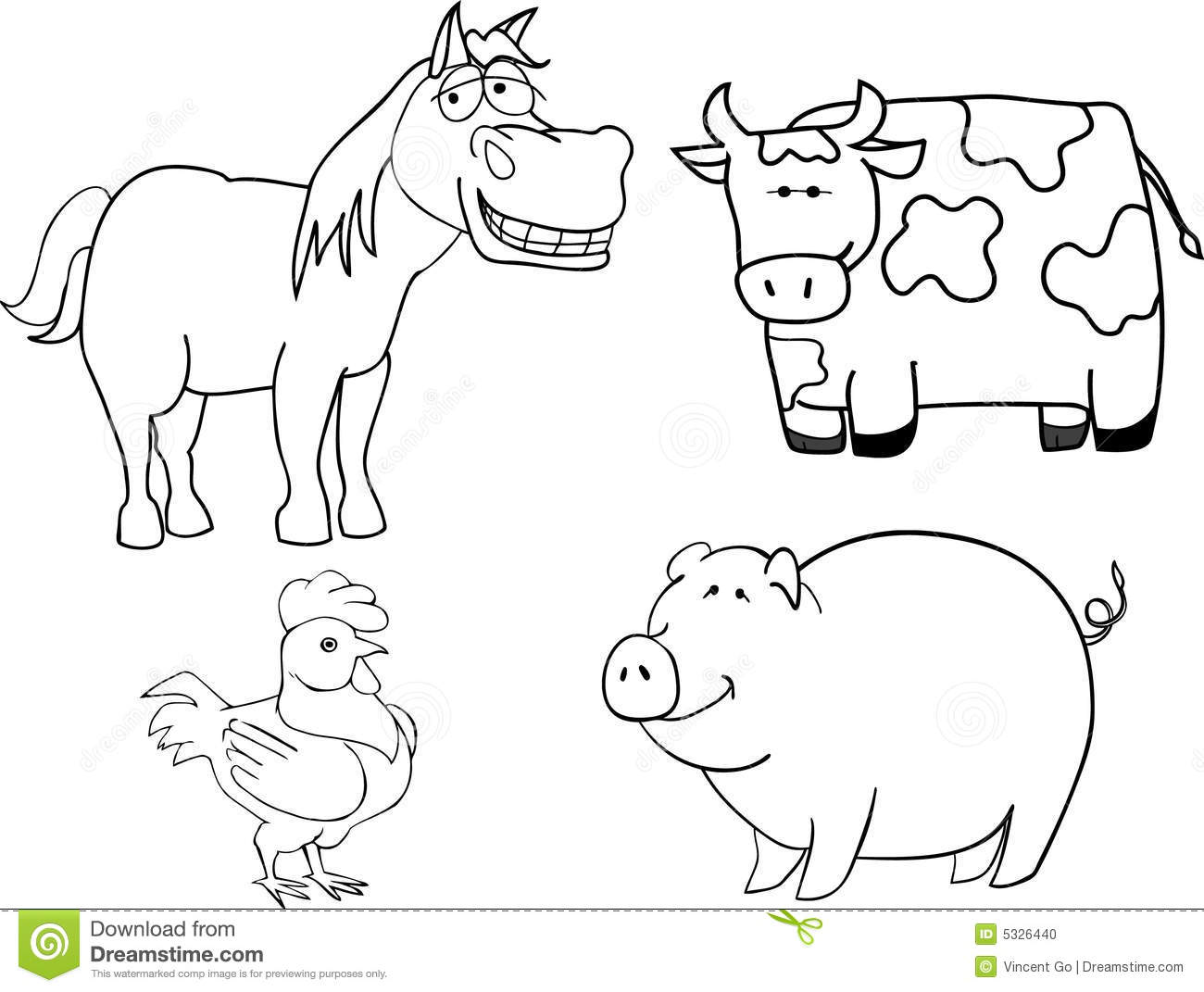 Line Drawings Of Farm Animals : Farm animals stock photo image