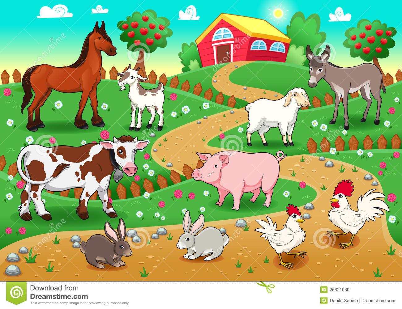 Farm Animals With Background Stock Vector Illustration Of Apple