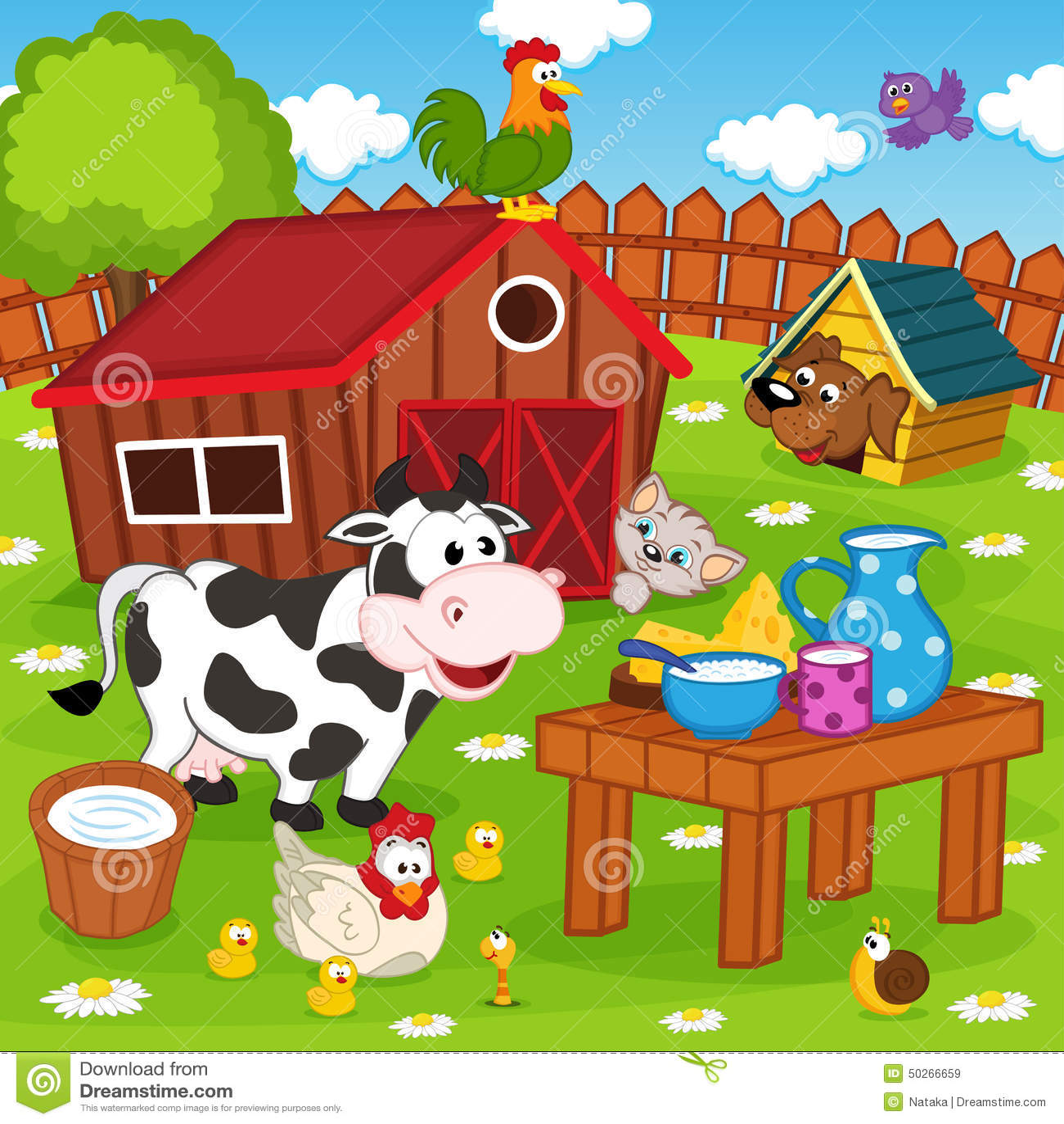 Pet Friendly House Plans Farm Animals In Barnyard Stock Vector Image 50266659