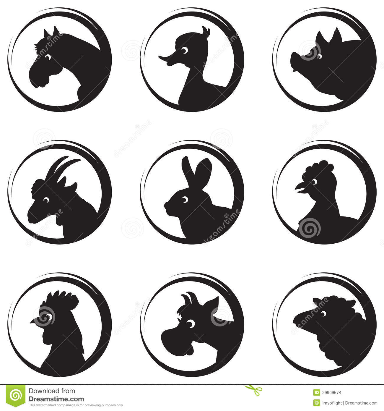 Farm Animals And Birds Vector Silhouette Icon Set