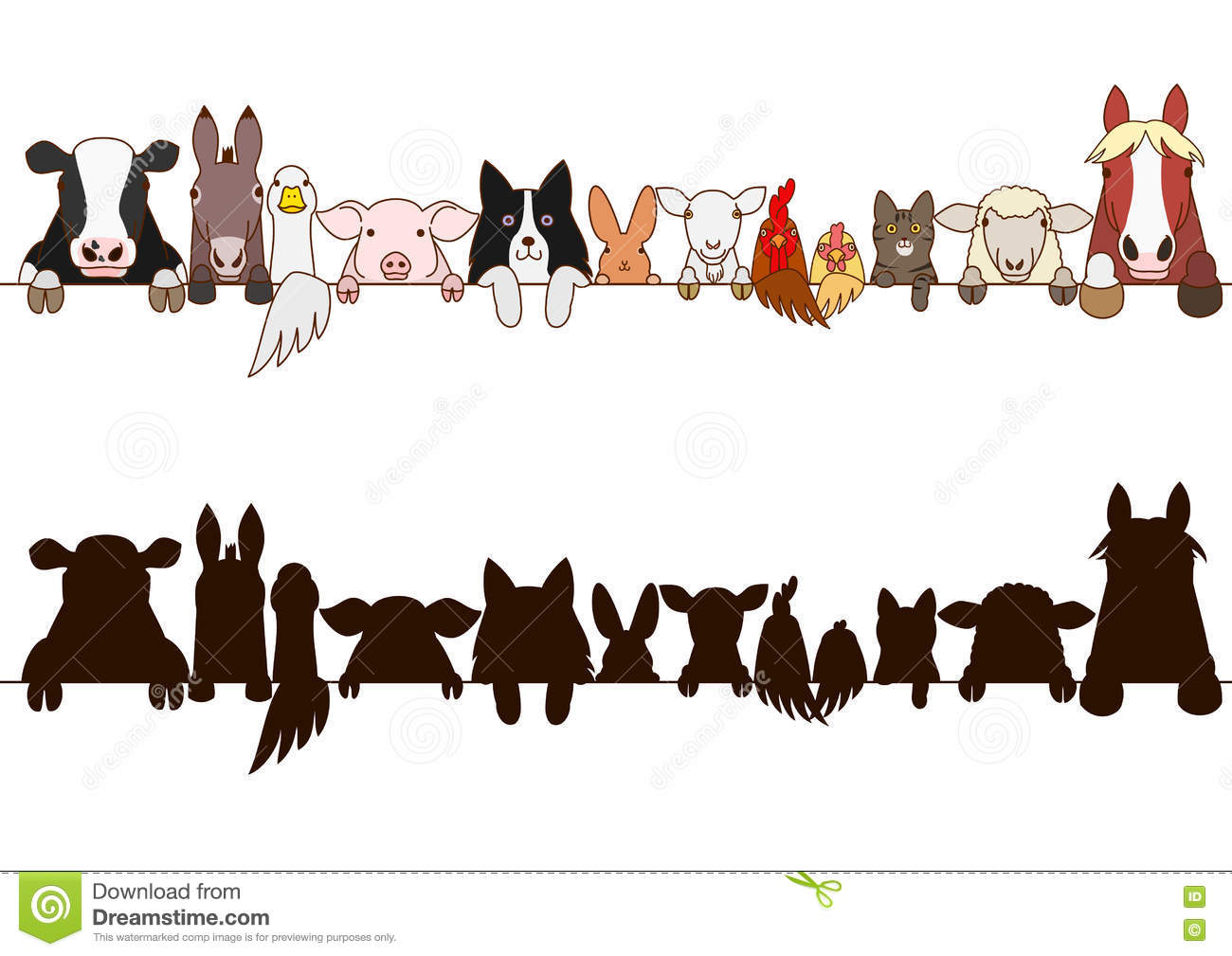Line Art Farm Animals : Animals silhouette cartoon vector cartoondealer