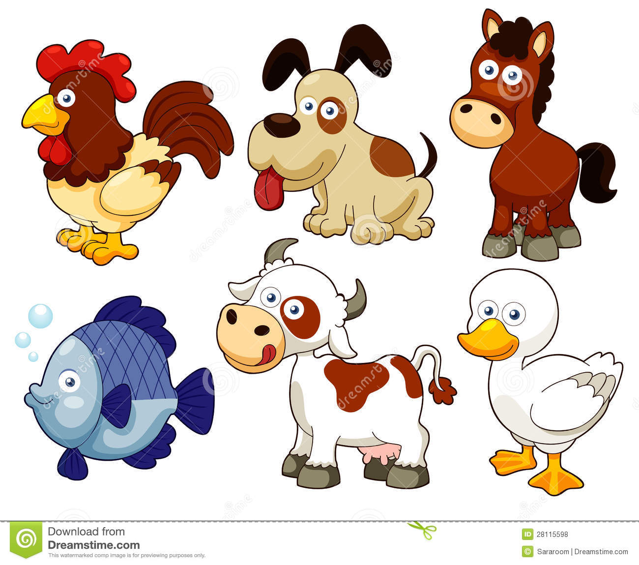 Farm animals cartoon stock vector. Illustration of ...