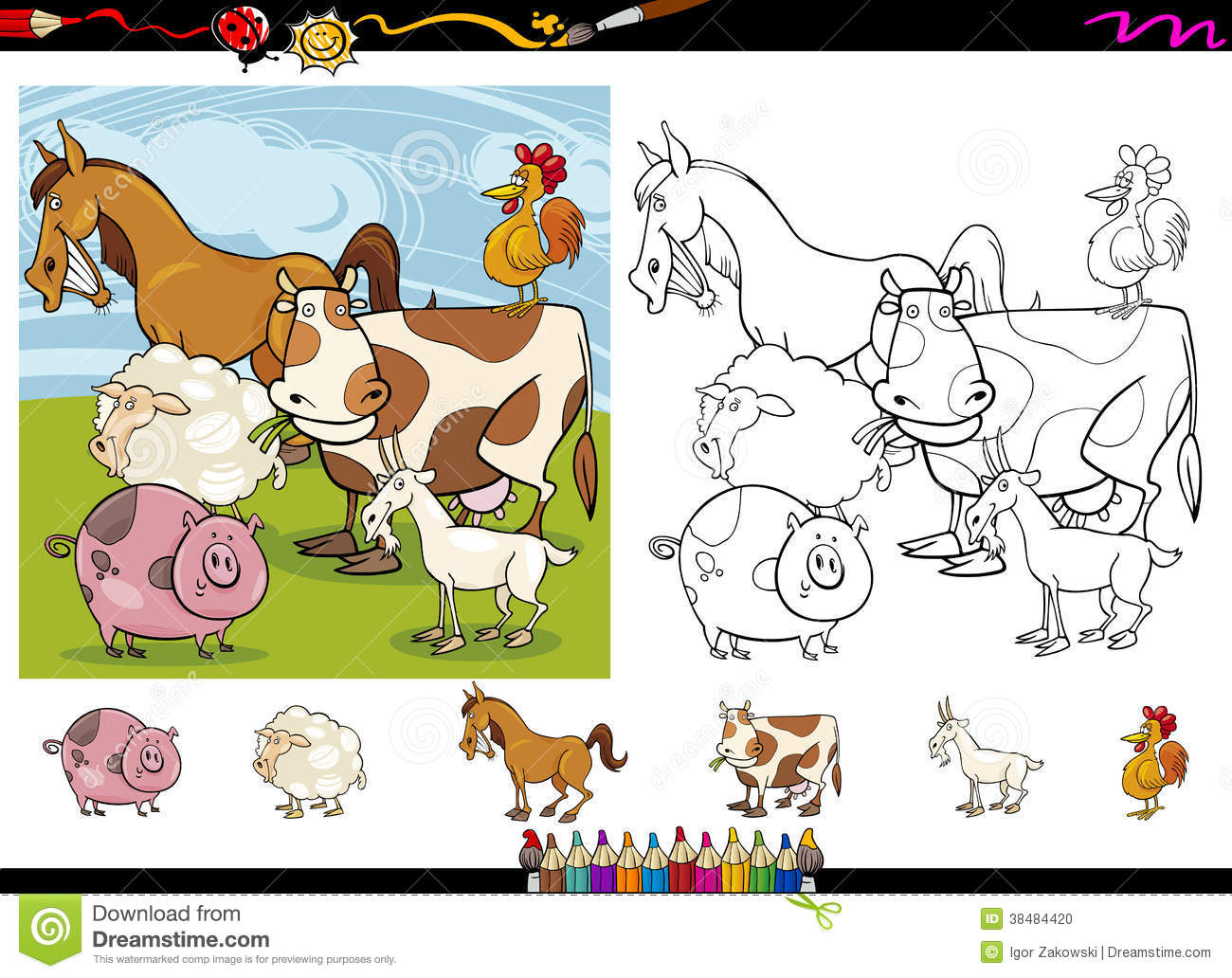 Farm Animals Cartoon Coloring Page Set Stock Photo Image