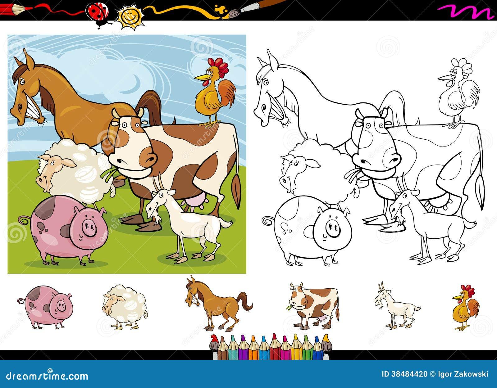 Farm Animals Cartoon Coloring Page Set Stock Photo - Image ...
