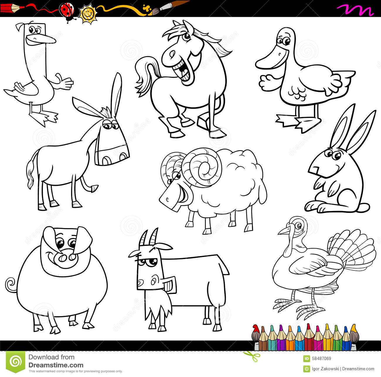 Coloring Book Cartoon Illustration Collection of Farm Animals ...