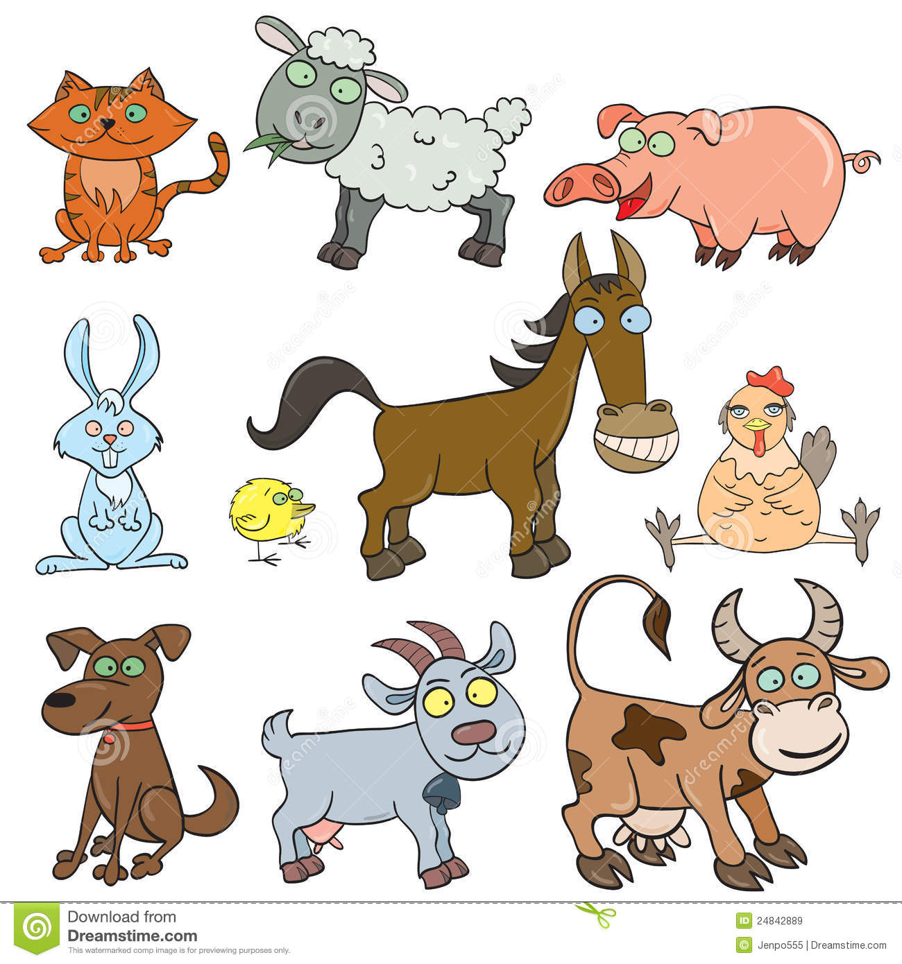 Farm Animals Doodle Icon Set Stock Vector Illustration Of