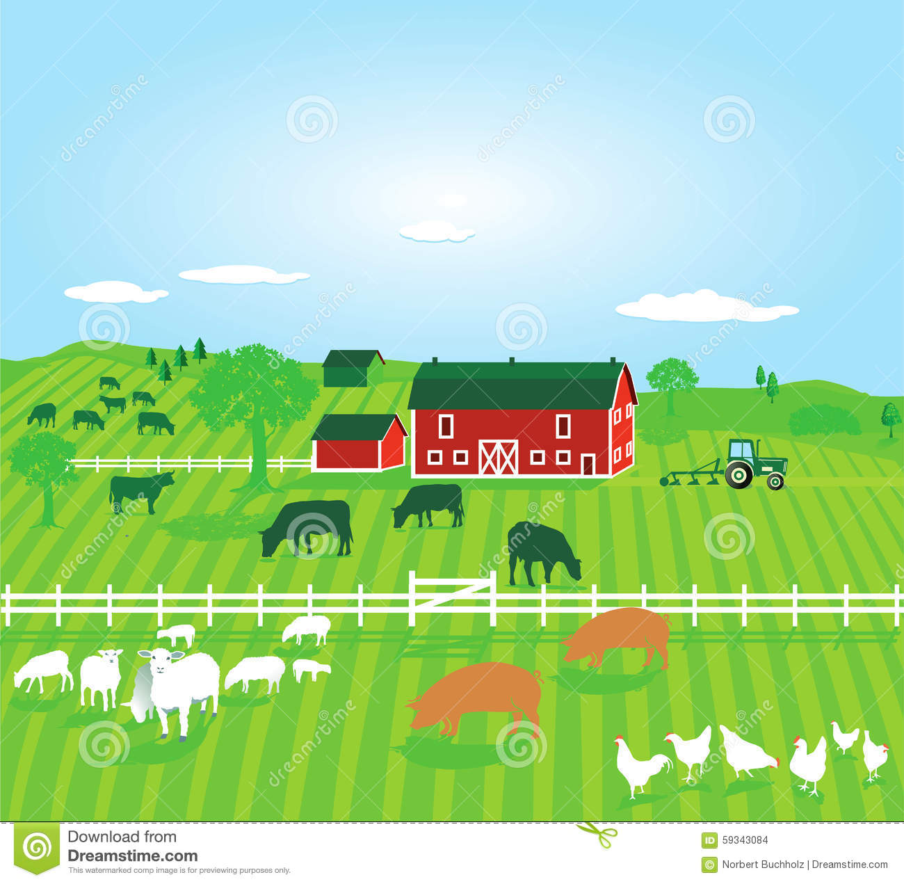 Farm Fence Clipart farm field with animals clipart image gallery - hcpr