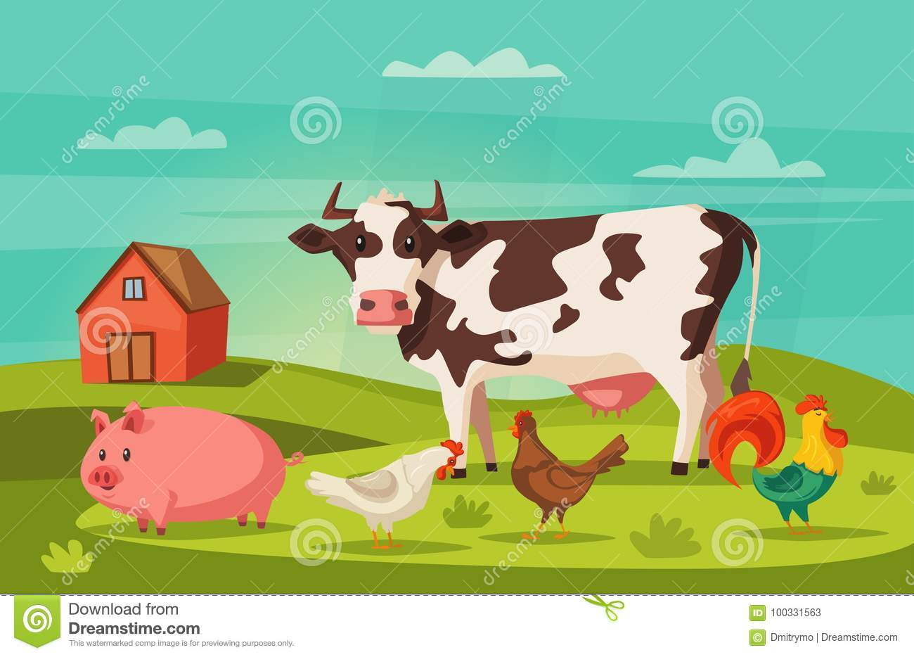 Farm Animals And House Village Cartoon Vector Illustration Hen Cow Rooster Pig For Banners Posters