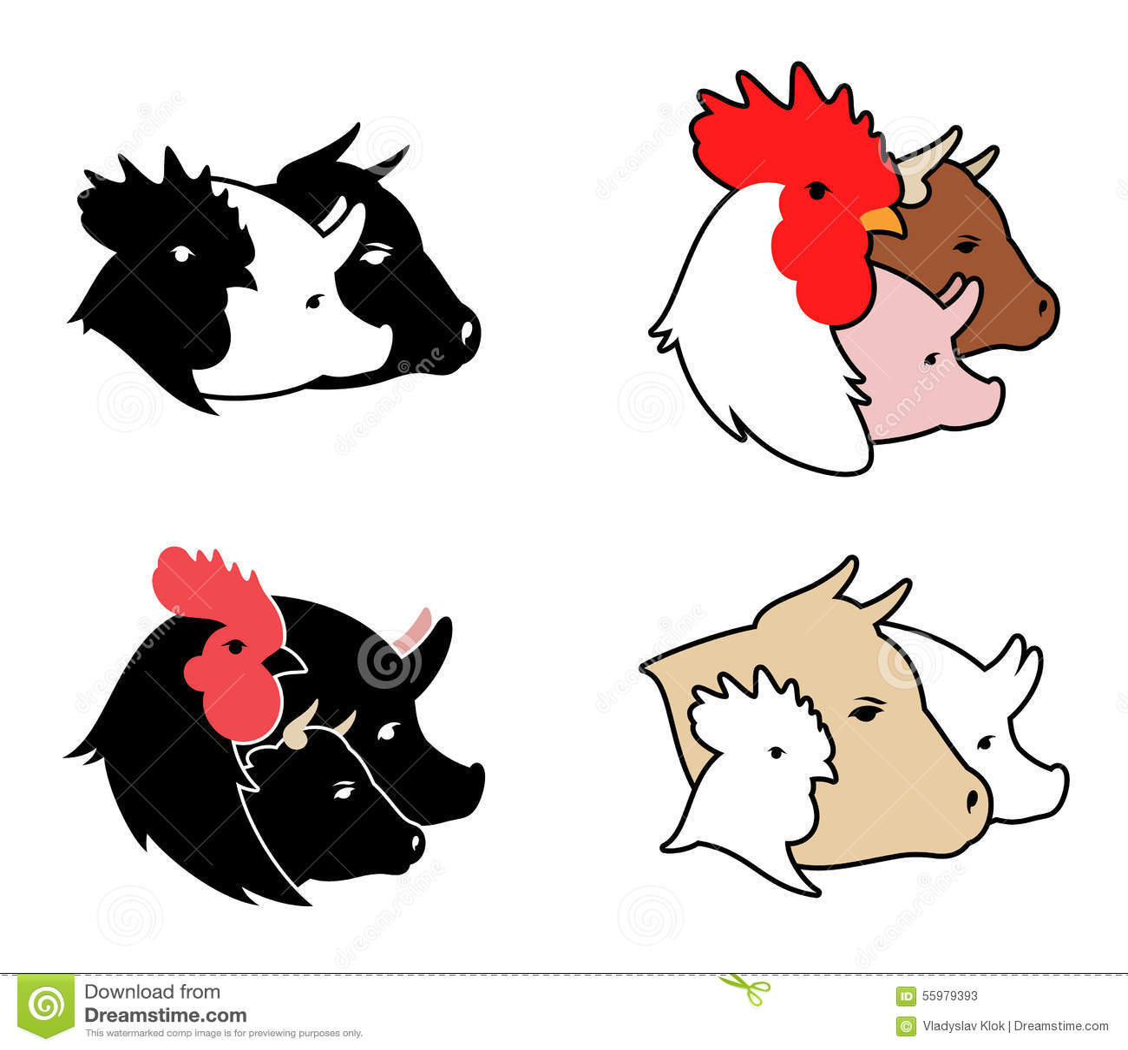 farm animals icons stock vector illustration of