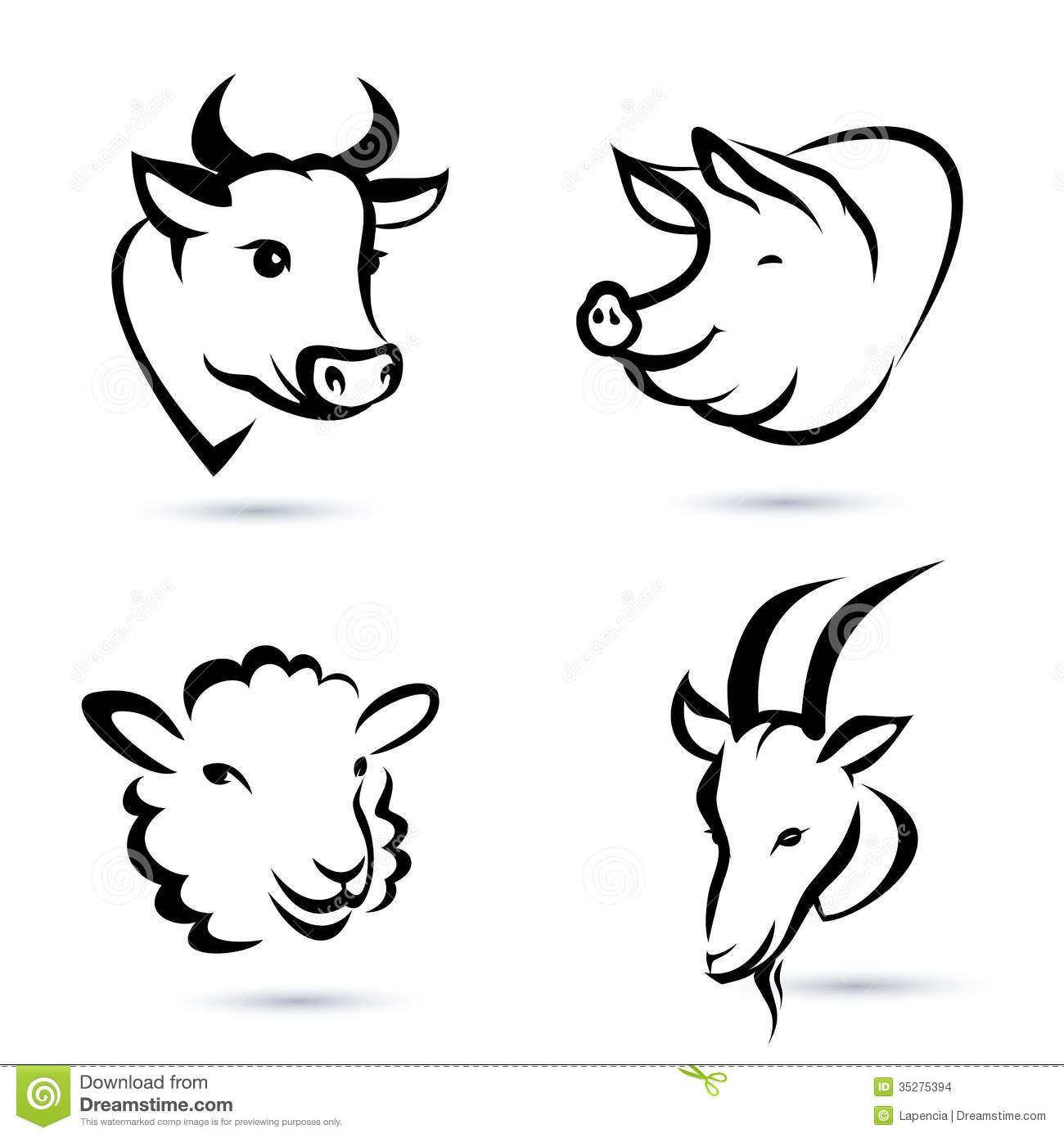 Line Drawings Animals Wildlife : Farm animals icons set stock images image