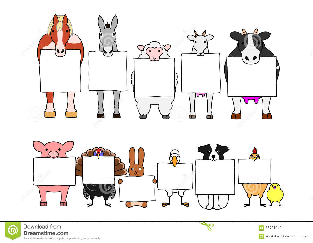 Farm Animals In Line With White Cards Stock Vector Image