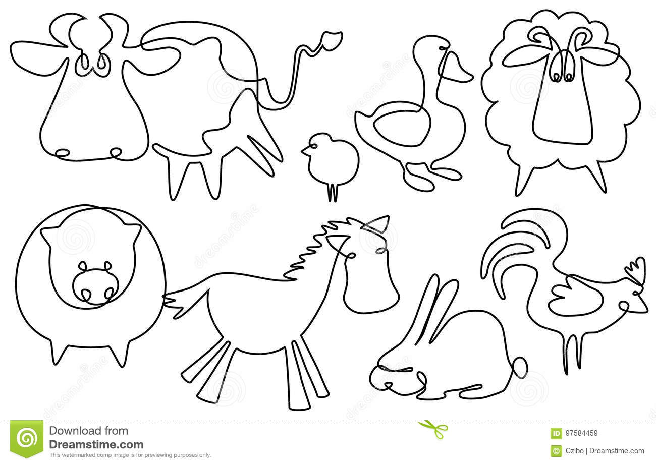 Simple Line Drawings Of Farm Animals : Farm animals one line drawing stock vector illustration