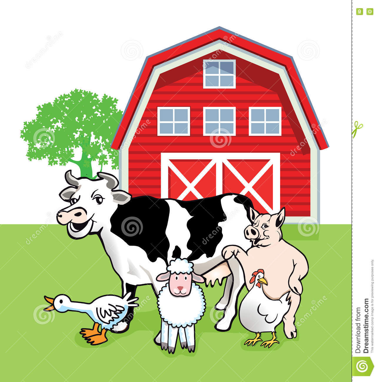 Farm Animals Outside Barn
