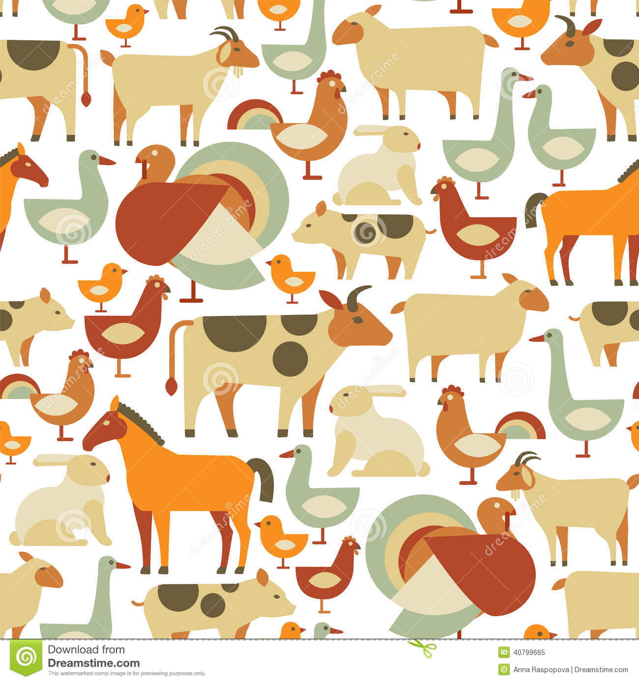 Farm Animals Pattern Stock Vector Image Of Mare Nature