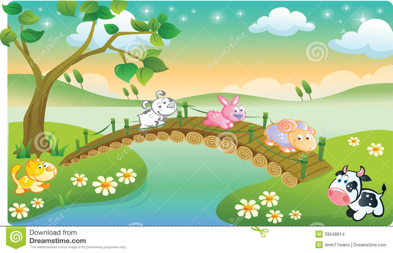 Farm Animals Playing With Beautiful Scenery Stock Illustration Image