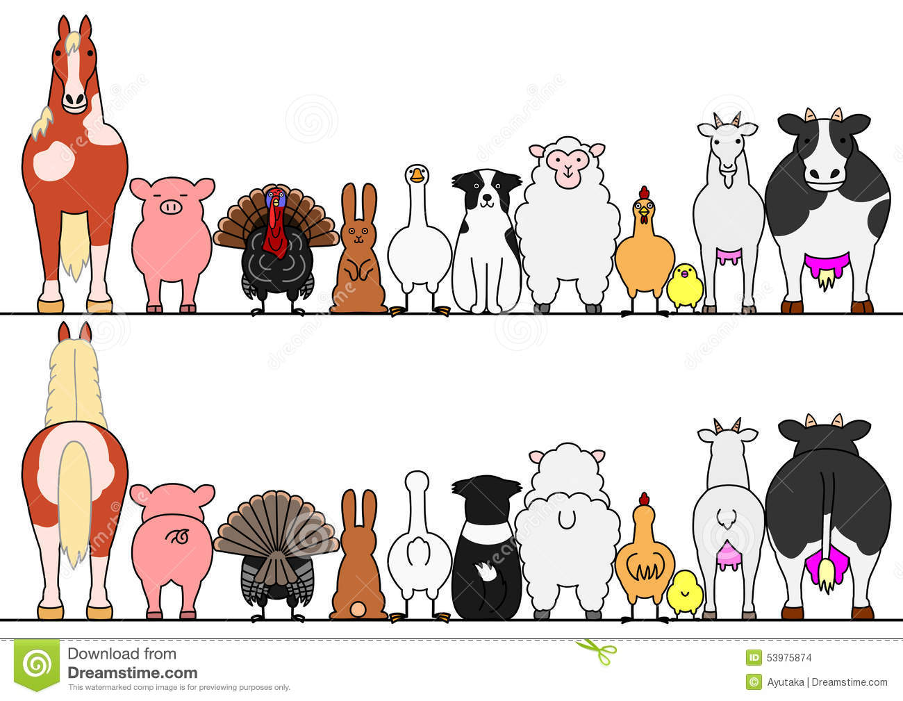 Farm animals in a row, front and back